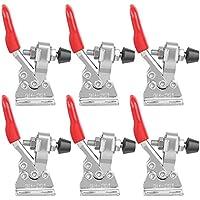 Abrazadera de Palanca, 6 Piezas Toggle Clamp 201 Herramienta de liberación rápida Con Soporte Metal Horizontal, Abrazadera de Palanca Manual Para Fijar Soldar y Ensamblar Componentes Electrónicos