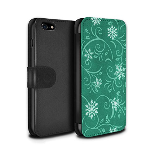 Stuff4 Coque/Etui/Housse Cuir PU Case/Cover pour Apple iPhone 7 / Bleu Design / Motif flocon de neige Collection Turquoise