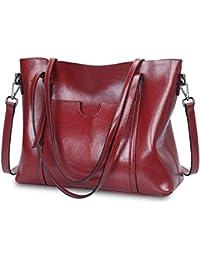 S-ZONE Damen Vintage 3-Way Echtes Leder Tote Schultertasche Handtasche Mode Handtasche Messenger Bag