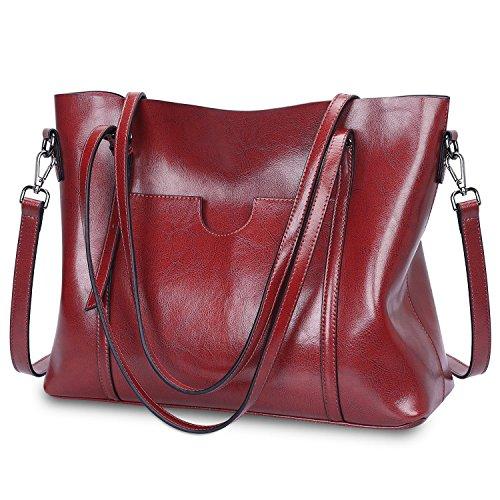 S-ZONE Damen Vintage 3-Way Echtes Leder Tote Schultertasche Handtasche Mode Handtasche Messenger Bag (Kommen Messenger)