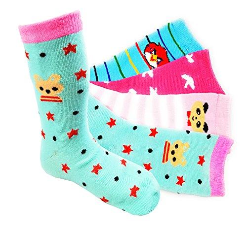 12 Paar Kids Socks Mädchen Socken Kinder Strümpfe 90% Baumwolle + 1 Paar Stoppersocken (27-30, M-01-27)