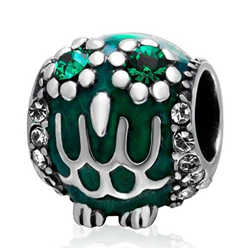 Soulbead verde smaltato wise owl charm con cristallo maggio birthstone 925sterling silver animali di perle per halloween bracciale in stile europeo