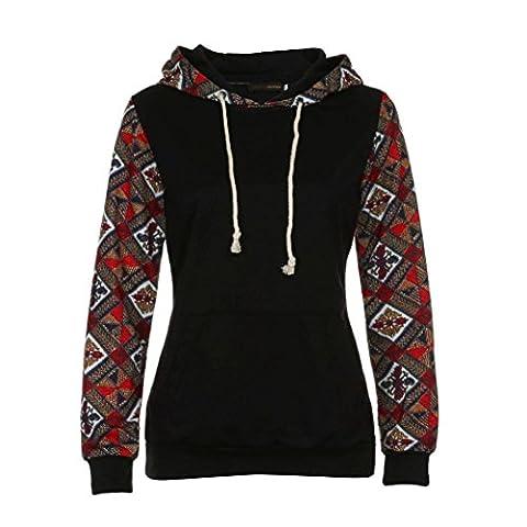Bluestercool Femmes Manche Longue Décontractés Imprimé Sweatshirt à capuche Pullover Hoodie Manteau Vêtements d'extérieur Tops (XL, 01)
