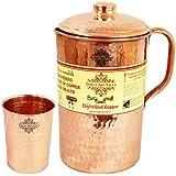 IndianArtVilla Hammered Copper Jug Pitcher with 1 Glass Tumbler, Drinkware, Health Benefits, 2 Pcs