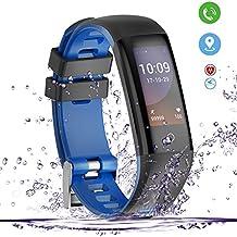 Smartwatch ,Fitness Tracker Yakuin Smart Watch G16 Activity Tracker IP67 Impermeabile Touch Screen Colorato con Monitoraggio Della Frequenza Cardiaca, Pressione Sanguigna, Monitor del Sonno, Calorie Bruciate, Route Dipinte, Chiamate, SMS e Notifiche SNS per iOS / Android (Blu)
