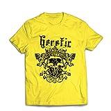 lepni.me Männer T-Shirt Heretic King Skull - Krone des Ruhmes, Skelett Gesicht (Large Gelb