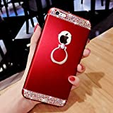 Etsue Glitter Ring Case for iPhone 6s Plus/iPhone 6 Plus, [ 360 Degree Rotating Stand Holder] Luxury Crystal Rhinestone Diamond Bling Sparkle with Rotating Ring Kickstand Shockproof Hard PC Case Cover for iPhone 6s Plus/iPhone 6 Plus + Blue Stylus Pen + Bling Glitter Diamond Dust Plug Colors Random-Diamond Ring,Red
