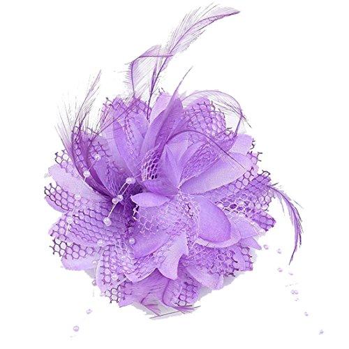 Cheerlife Elegante Damen Accessoires Haarblumen Haarblüte Haarspange Haarschmuck Broschen Ansteckblume viele Farben Lila