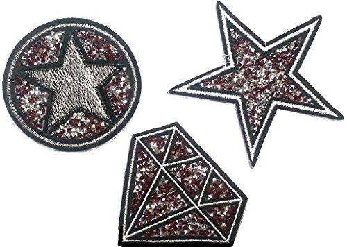 Sterne Aufnäher Patches Applikationen mit Glitzer Strass Sterne zum aufbügeln 3 er Set Strass in Blut rot Tönen ()