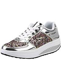 796356a119b94 BaZhaHei Paillettes Sneakers con Zeppa Fondo Spesso Donna Eleganti