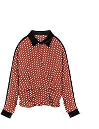 Mayihang Blusa Camisa Camiseta de manga larga de impresión femenina Primavera Polka Dot Camiseta manga larga,impresión moda marrón…