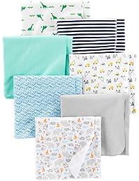 Simple Joys by Carter's Baby - Confezione da 7 coperte in flanella ,Trucks/Animals/Dino/Whales ,One Size