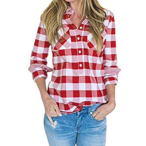 FORH Damen Klassisch Langarm Kariertes Hemd Slim Fit Revers Longshirt Cardigan Bluse Casual Lang Ärmel FreizeitBluse Button Trachtenhemd Top (Rot, (Qualität Top Kostüme)
