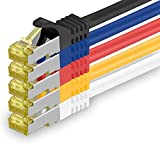 Cat.7 Netzwerkkabel 1m - 5-Farben 03-5 Stück - Cat7 Ethernetkabel Netzwerk LAN Kabel Rohkabel 10 Gb/s (Sftp Pimf) Set Patchkabel mit Rj 45 Stecker Cat.6a