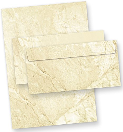 TATMOTIVE Briefpapier-Set marmoriert 25xA4 Briefbogen + 25xDINlang Umschläge