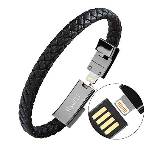 bsolli portátil pulsera pulsera estilo USB Fecha cable de carga para iPhone