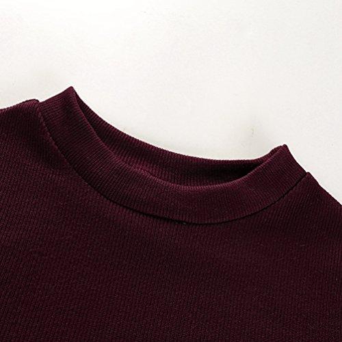 NiSeng Femmes Slim Fit Couture Couleurs Tops Casual Blouse Manches Longues À Tricoter Chemisier Tops Violet