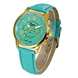 Fashion Watches ,Women Fashion Geneva Roman Numerals Faux Leather Analog Quartz Wrist Watch (one, Mint Green)