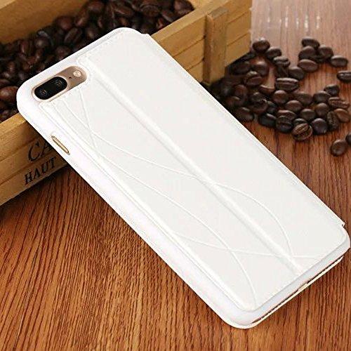 UKDANDANWEI (Apple iPhone 7) [CJ] Case - Magnetisch Leder Tasche Flip Case Cover Schutzhülle Etui Hülle Schale mit Fenster Ansicht Für Apple iPhone 7 - Braun Weiß