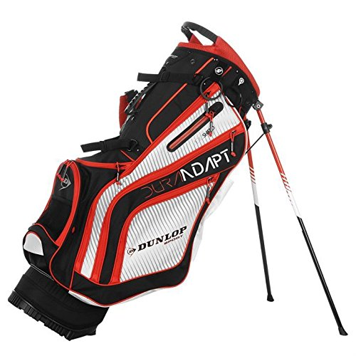 dunlop-org-golf-stand-bag-case-carry-strap-holdall-divider-sports-accessories-black-white-red-one-si