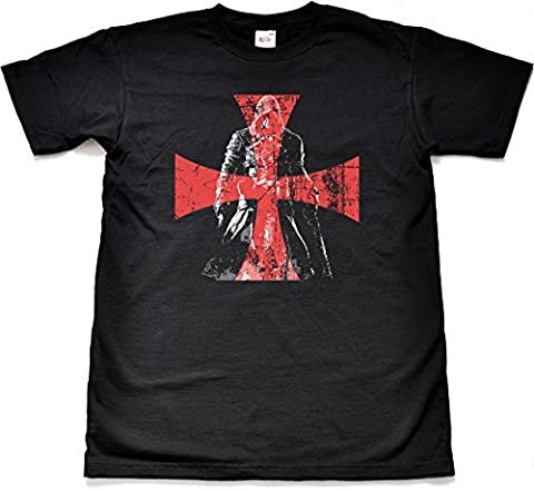 Distressed templar cross t-shirt - Noir - Xxx-large
