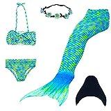 UrbanDesign Coda Di Sirena Per Bambine Con Le Pinne Per Nuotare (11-12 anni, Blu Verde)