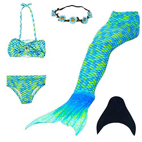 UrbanDesign Meerjungfrau Flosse Zum Schwimmen Meerjungfrau Schwanz mit Flosse mit Bikini für Kinder Mädchen, 7-8 Jahre, Mehrfarbig, (Celeste)