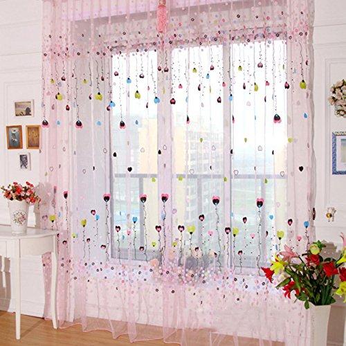 Zzm viole della finestra tenda drape sheer mantovane cuore romantico stampa palloncino modello per pannello finestra balcone 1pc