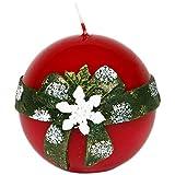 Bola Vela Vela de Navidad Diámetro 80mm Copo de nieve Color Rojo lacado