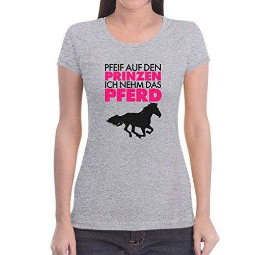 Damen Pfeif auf den Prinzen ich nehme das Pferd Shirt Frauen TShirt Grau