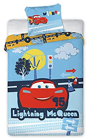 Cars Flash McQueen Baby Bed Linen – Duvet Cover 135 x 100 cm + Pillow Case 40 x 60 cm, 100% Cotton - Crayola Cuscino