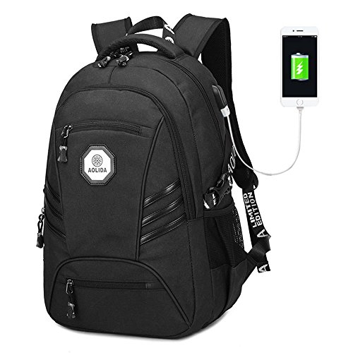 Rucksack mit USB Ladeanschluss, Marsoul 15 Zoll Business Laptop Schulrucksack (Schwarz) (15-zoll-laptop-rucksack)