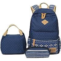 Preisvergleich für BLOOMSTAR Bohem Canvas School Rucksack Laptop Tasche + Mittagessen Tasche + Bleistift Case