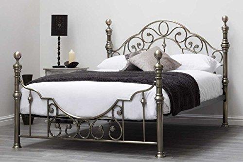 Antikes Bett (CANTERBURY Antik Messing Vintage Viktorianischer Stil Metall Bett-Rahmen Doppel oder King Größe durch 'Schlaf Design', metall, schwarz, Double 4FT6)