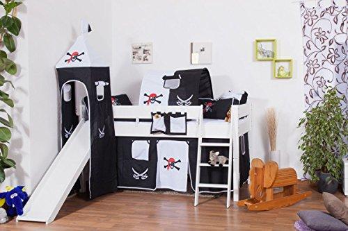 Hochbett Tom mit Rutsche und Turm inkl. Rollrost - Material: Buche massiv natur, Farbe: weiß lackiert -