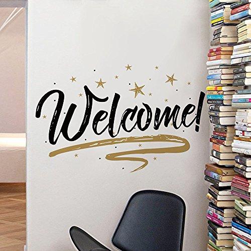 Woodland Arts 32x 15Gold und Schwarz Willkommen Zuhause Sterne Wand Tür Vinyl Abnehmbare Aufkleber Aufkleber für Wohnzimmer Schlafzimmer Kindergarten Klassenzimmer Goldfarben und Schwarz
