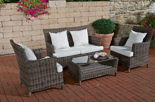 CLP Garnitur MERIDA aus Polyrattan (2er-Sofa + 2 Sessel + Tisch 89 x 49 cm mit Glasplatte) inkl. Kissen & Polstern grau meliert