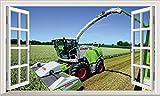 Chicbanners Mähdrescher Traktor Ernte V4Selbstklebend 3D Magic Wandtattoo Fenster Poster Wall Art Größe 1000mm Breit x 600mm Tief (groß)