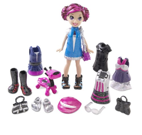 Polly Pocket–T1216–Puppe und Zubehör–Coffret Halt ELECTROPOP–Lila + g-tar