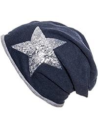 Gadzo Beanie mit Pailletten Silber Stern Slouch Mütze mit roll Rand KudiP01