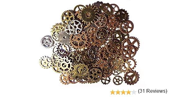 100/X Steampunk Engrenages Multicolore gothique Charms Bronze en M/étal