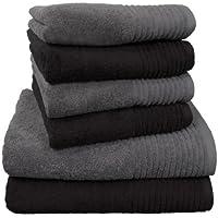 "Dyckhoff 0410996150 Handtuchset ""Brillant"", 2 Badetücher / Duschtücher 70 x 140 cm und 4 Handtücher 50 x 100 cm, 6-teilig, schwarz / grau"