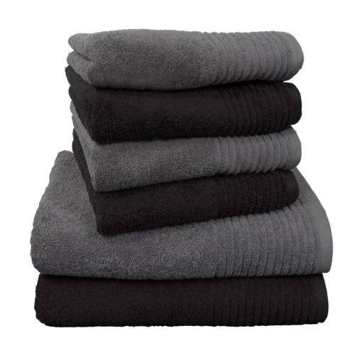 Dyckhoff 0410996150 Handtuchset Brillant, 2 Badetücher/Duschtücher 70 x 140 cm und 4 Handtücher 50 x 100 cm, 6-teilig, schwarz/grau (Badetücher)