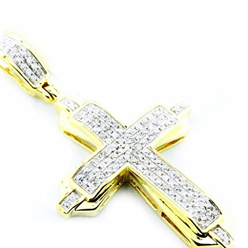 pendants-midwestjewellery Herren Diamant Kreuz Anhänger 10K Gold 3/10cttw Pavé Set 35mm hoch (0.3cttw, KT, I/J)