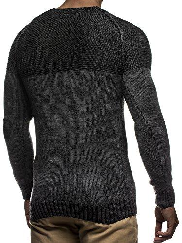 LEIF NELSON Herren Strickpullover Pullover Sweatshirt LN20706 Anthrazit