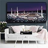 Islam Gebäude Nightscape Leinwand Malerei Mekka Islamischen Moschee Poster Und Drucke Cuadros Wandbild Für Wohnzimmer 30x60 cmkein rahmen
