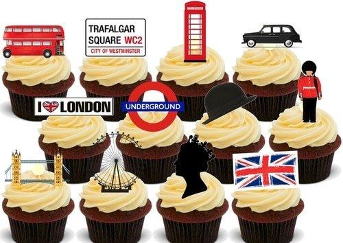 x - 12 essbare hochwertige stehende Waffeln Karte Kuchen Toppers Dekorationen, London Union Jack Mix - 12 Edible Stand Up Premium Wafer Card Cake Toppers Decorations ()