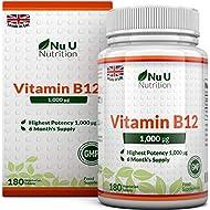 Vitamin B12 Methylcobalamin 1000mcg | 180 Tablets (6 Month's Supply) | Vitamin B12 1000mcg | Sublingual B12 by Nu U Nutrition