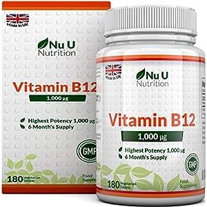 Vitamin B12 1000μg – Hochwirksames B12 Methylcobalamin – 180 vegetarische Tabletten (6 Monate Vorrat) – Hergestellt in Großbritannien von Nu U Nutrition