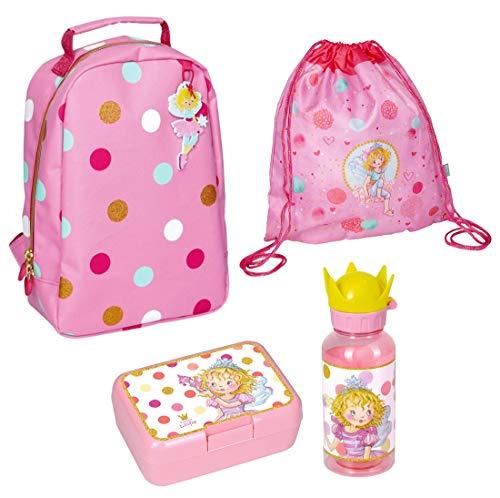 Spiegelburg Kindergarten-Rucksack Set 4tlg. mit Turnbeutel, Brotdose und Trinkflasche Prinzessin Lillifee Fröhliche Tupfen